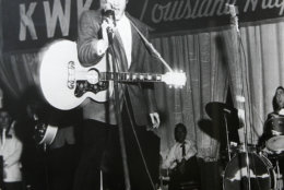 A new exhibit is going up at Masur Museum in Monroe, La., features photographs of a young Elvis Presley on the stage of the Louisiana Hayride in Shreveport, La.  The show focuses on 40 black and white photographs taken by Shreveport photojournalists Jack Barham and Langston McEachern, most depicting Elvis in his final performance in Shreveport on Dec. 15, 1956. (AP Photo,file)