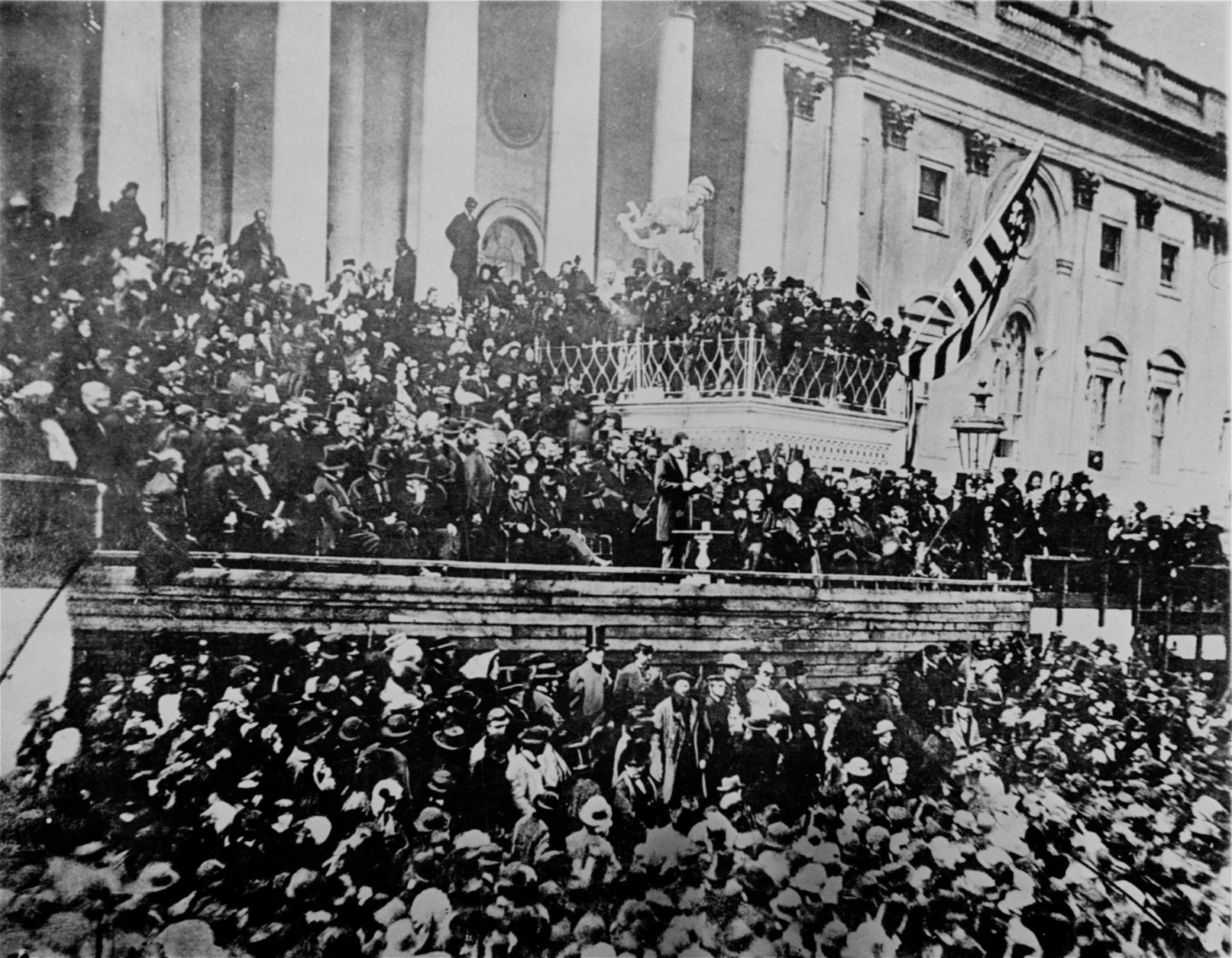 A scene in front of the Capitol during Lincoln's second inauguration, 1865, just six weeks before his assassination.  (AP Photo)