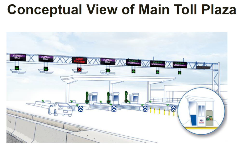 Improved E-ZPass readers, digital signs to label cash or E-ZPass lanes, and improved IT security standards are among planned upgrades. (Courtesy Metropolitan Washington Airports Authority)