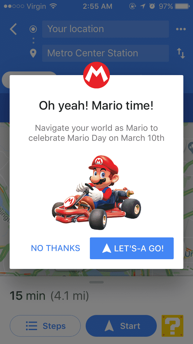 Navigate the streets this week as Nintendo's Mario. (Courtesy Google Maps)