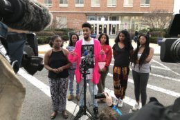 Howard students meet with reporters after Friday afternoon's talks with trustees. (WTOP/Michelle Basch)