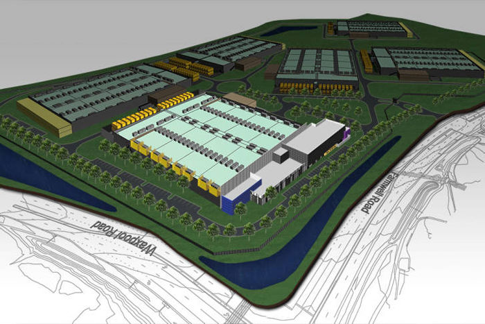 Rendering shows RagingWire's new facility in Ashburn, Virginia.