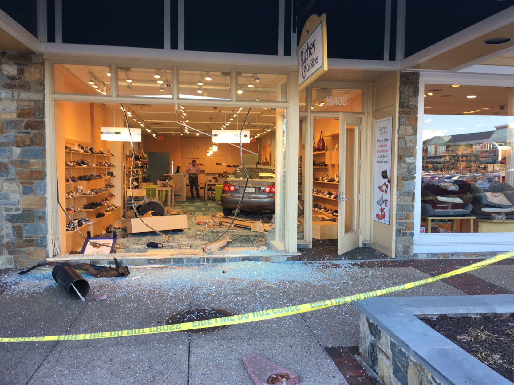 A car crashed into a shoe store in Montgomery County on Saturday, March 31, 2018. (Courtesy Dave Kremnitzer)