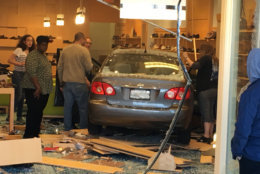 A car crashes into a sore in Rockville, Maryland, on Saturday, March 31, 2018. (Courtesy Dave Kremnitzer)