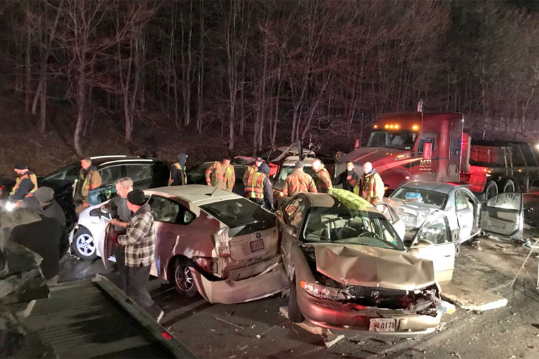 Photo shows cars involved in a crash on I-270