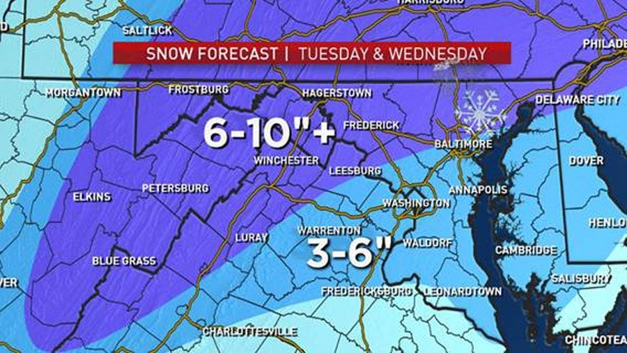 Expect snow to move in during the overnight, said Storm Team4's Lauryn Ricketts. (Courtesy NBC Washington)