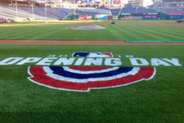 The field at Nationals Park looks pristine ahead of Thursday's home opener. (WTOP/Nick Iannelli)
