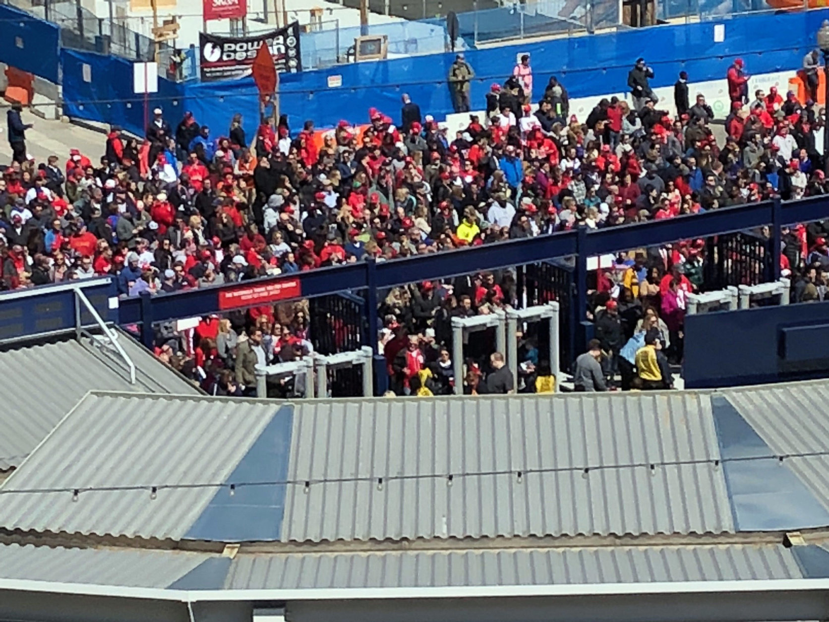 Throngs of Nationals fans gather at the gates to Nats Park. (WTOP/Julia Ziegler)
