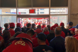 Crowds for opening day at Nationals Park are massive Thursday. (WTOP/Julia Ziegler)
