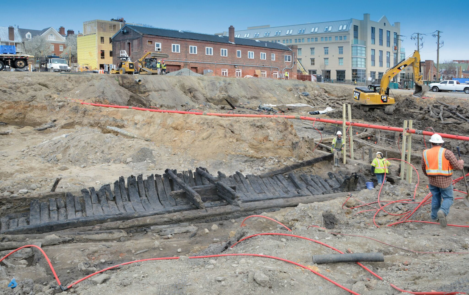 The remains of a third historic ship were discovered at the Robinson Landing construction site in Alexandria's Old Town on March 29, 2018. (Courtesy EYA, LLC)