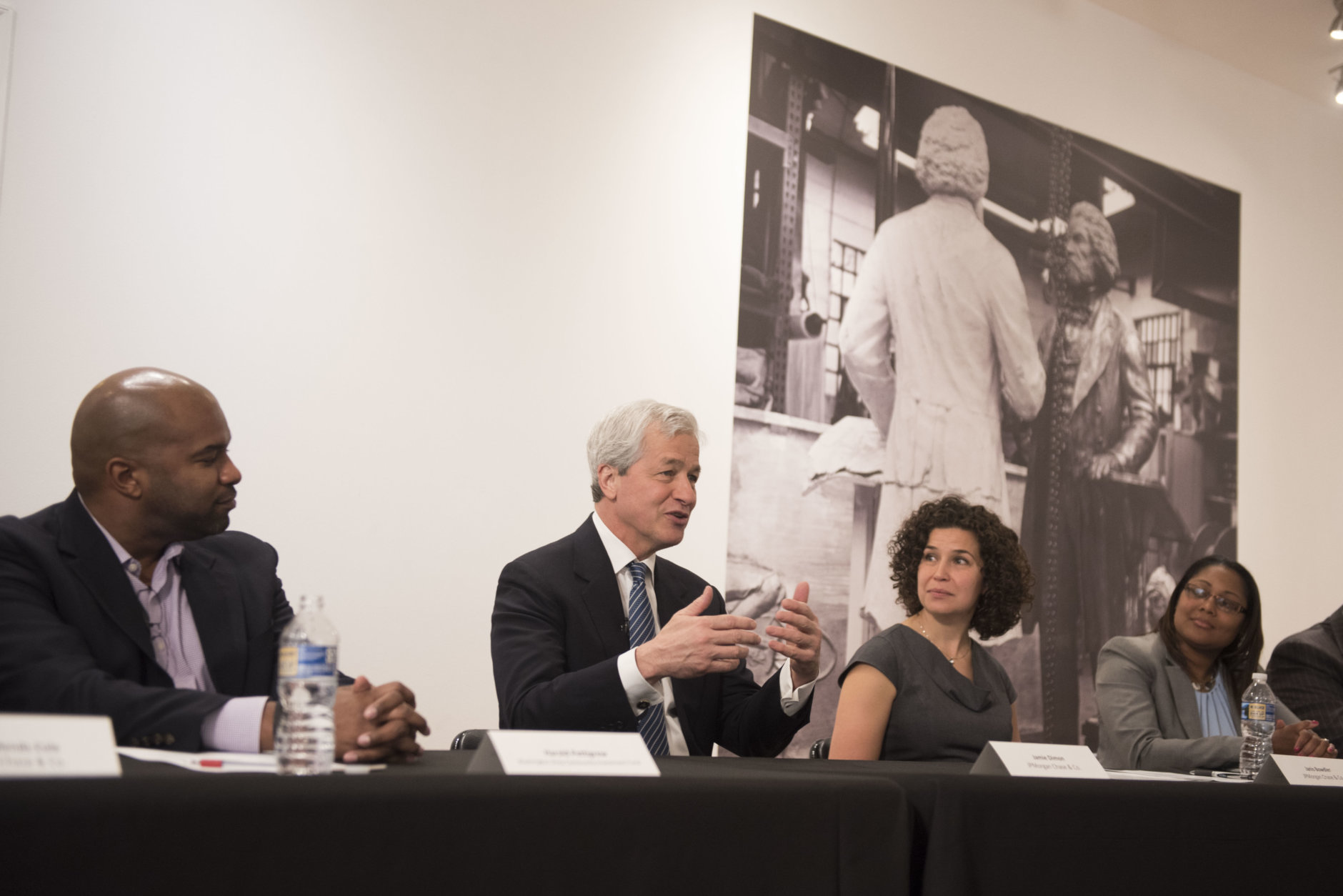 IMAGE DISTRIBUTED FOR JPMORGAN CHASE & CO. - JPMorgan Chase & Co. Chairman and CEO Jamie Dimon speaks at a Community Roundtable/Meet and Greet at the Anacostia Arts Center on Wednesday, April 18, 2018 in Washington. (Kevin Wolf/AP Images for JPMorgan Chase & Co.)
