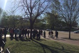 Students gather at Lafayette Square ahead of Friday's protests. (WTOP/John Domen)