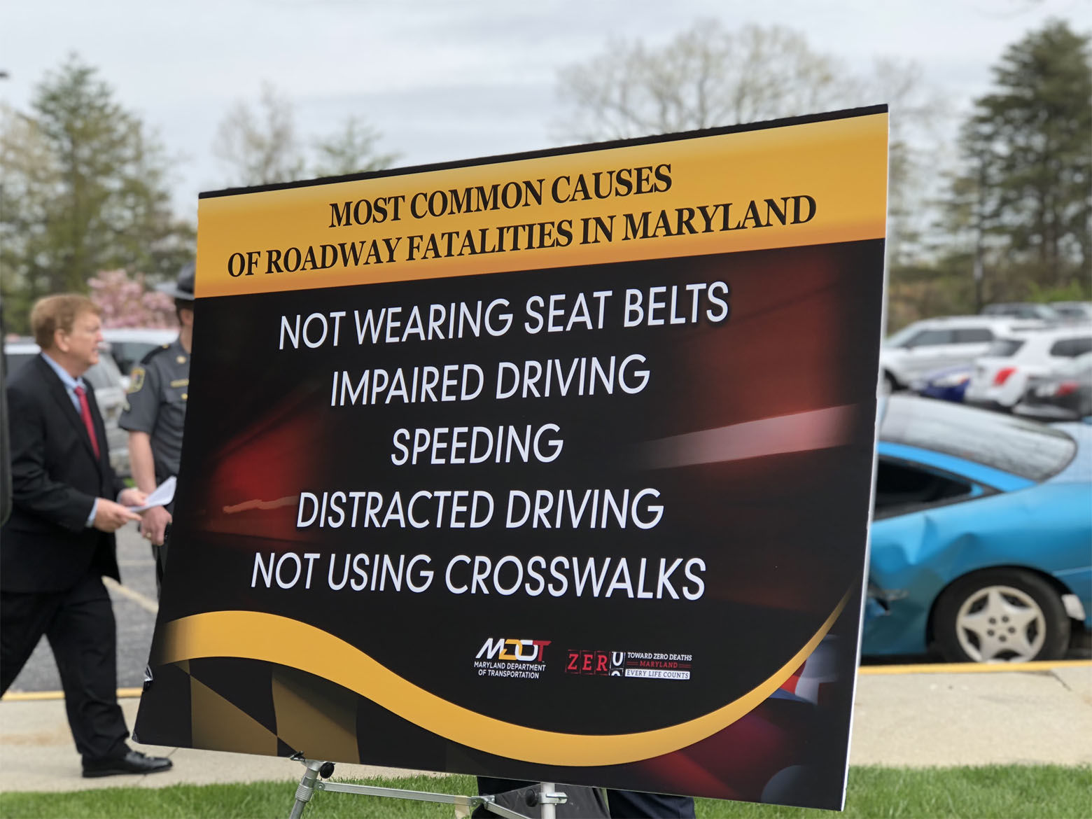 Causes or contributing factors to Maryland highway traffic deaths including impaired driving, distracted driving and not wearing seat belts.  (WTOP/Kate Ryan)