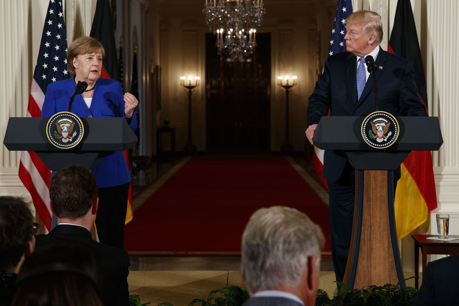 German Chancellor Angela Merkel speaks during a news conference with President Donald Trump in the East Room of the White House, Friday, April 27, 2018, in Washington. (AP Photo/Evan Vucci)