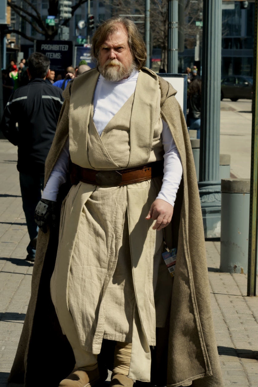 "A man dressed as the ""Star Wars"" character Luke Skywalker arrives at Awesome Con 2018 at the Walter E. Washington Convention Center in Washington, D.C. (Shannon Finney)"