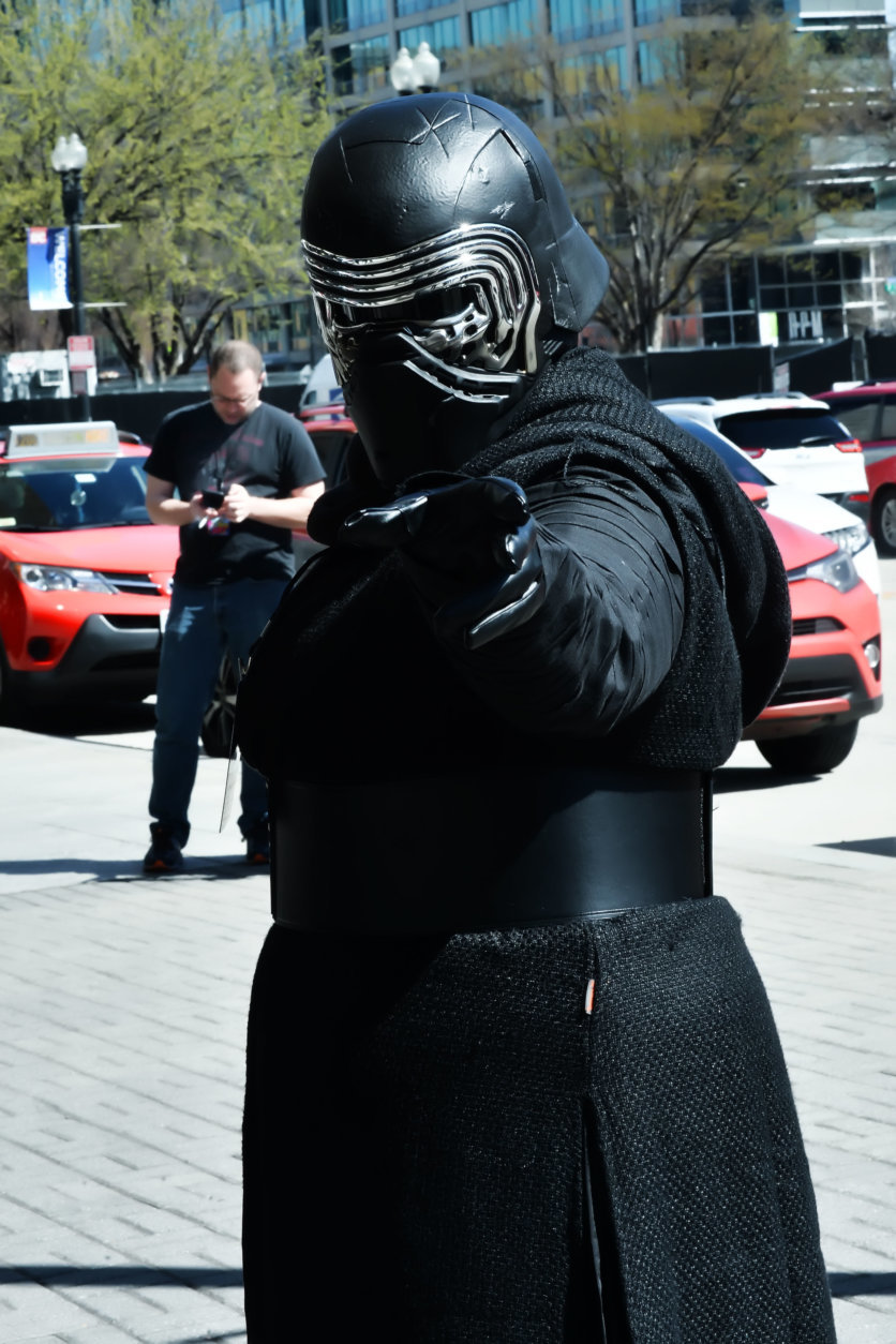 A woman dressed as Kylo Ren from the Star Wars film series strikes a pose at Awesome Con 2018 at the Walter E. Washington Convention Center in Washington, D.C. (Shannon Finney)