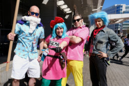 "Attendees dressed as Master Roshi, Bulma, Vegeta and Trunks from ""Dragon Ball Z"" arrive at Awesome Con 2018 at the Walter E. Washington Convention Center, Washington, D.C. (Shannon Finney)"