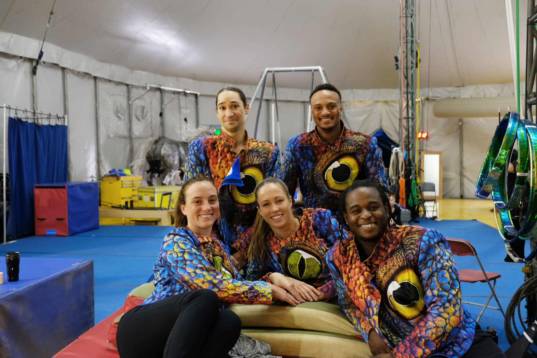 """Performers dressed in their lizard costumes backstage during rehearsals for Cirque du Soleil's, """"LUZIA""""."""