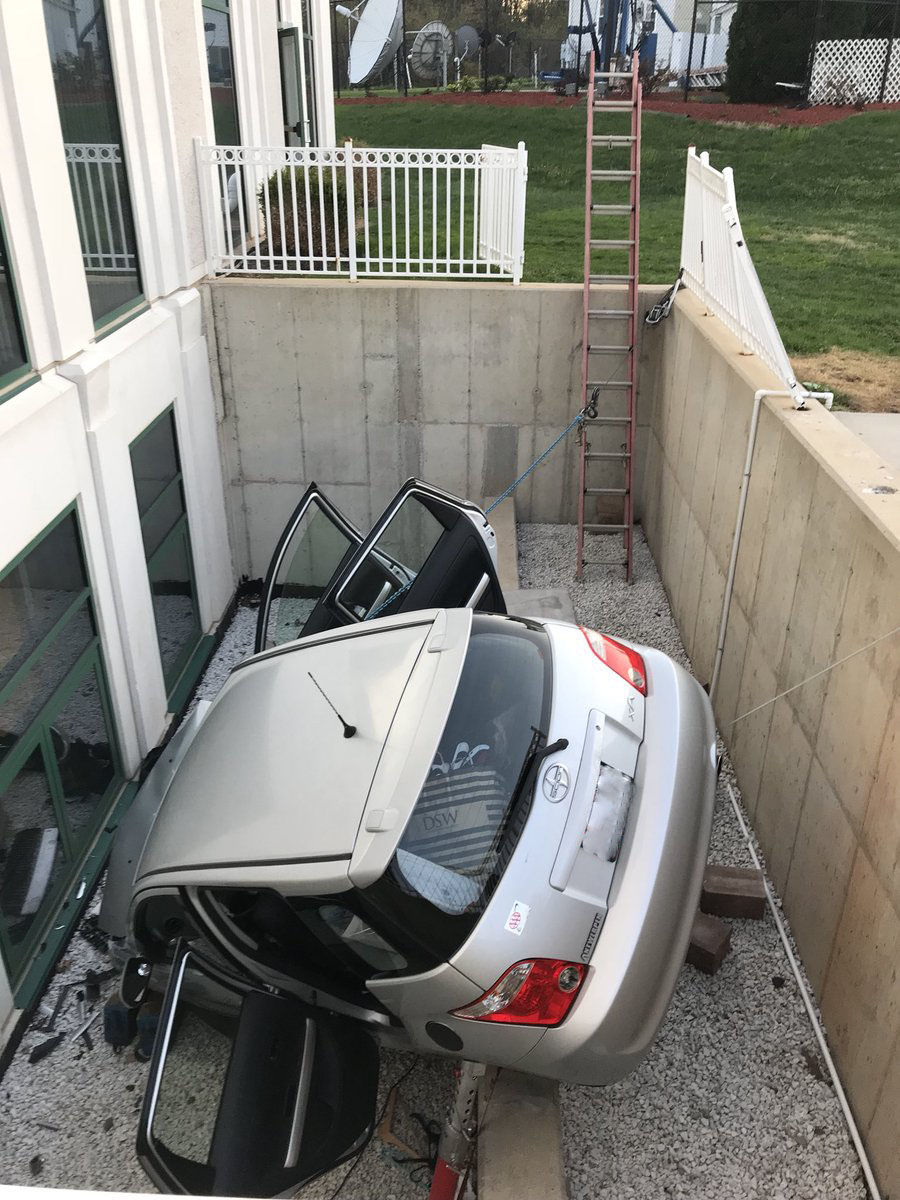 A car crashed into an Islamic temple on Good Hope Road in Silver Spring, Maryland. (Courtesy of Montgomery County Fire & Rescue)