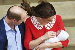 Britain's Prince William and Kate, Duchess of Cambridge with their newborn baby son as they leave the Lindo wing at St Mary's Hospital in London London, Monday, April 23, 2018. The Duchess of Cambridge gave birth Monday to a healthy baby boy — a third child for Kate and Prince William and fifth in line to the British throne. (John Stillwell/Pool photo via AP)