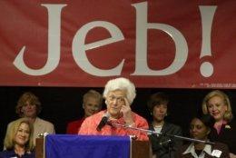 Former first lady Barbara Bush makes a point as she campaigns for her son, Florida Gov. Jeb Bush, at Nova Southeastern University in Davie, Fla.,Tuesday, Oct. 22, 2002. Bush is facing Democrat Bill McBride in the general election on Nov. 5. (AP Photo/Marta Lavandier)