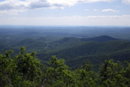 This Wednesday, May 9, 2010 photo shows the view from an overlook along the Blue Ridge Parkway near Rocky Knob in Floyd, Va. (AP Photo/Zinie Sampson)