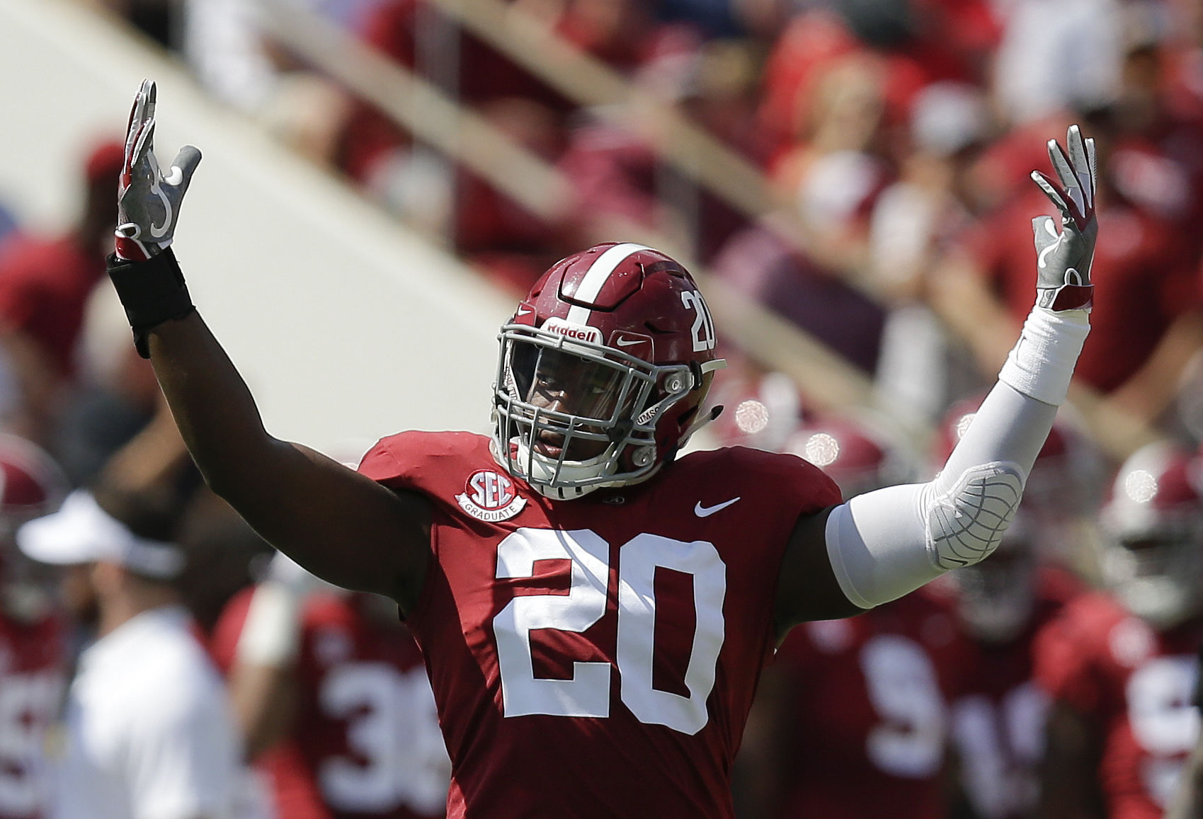 Alabama linebacker Shaun Dion Hamilton hypes up the crowd before the game against Fresno State in the first half of an NCAA college football game, Saturday, Sept. 9, 2017, in Tuscaloosa, Ala. (AP Photo/Brynn Anderson)