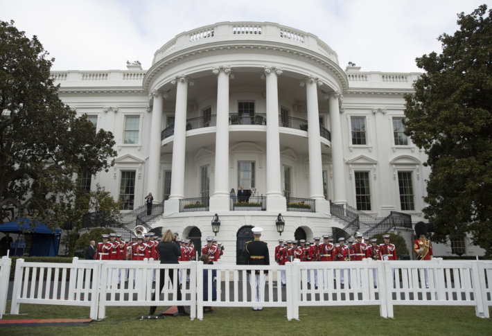 Photos 2018 white house easter egg roll wtop president donald trump first lady melania trump and the easter bunny look out from the truman balcony of the white house in washington monday april 2 m4hsunfo