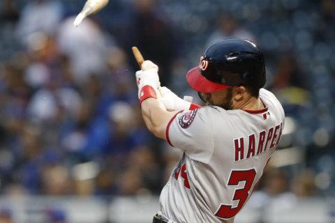 Watch: Nats' Bryce Harper breaks bat blasting 406-ft home run