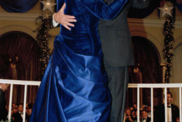 President  George H.W. Bush and wife, Barbara dance at the inaugural ball at the Pension Building in Washington, on Friday, Jan. 20, 1989. (AP Photo/Scott Applewhite)