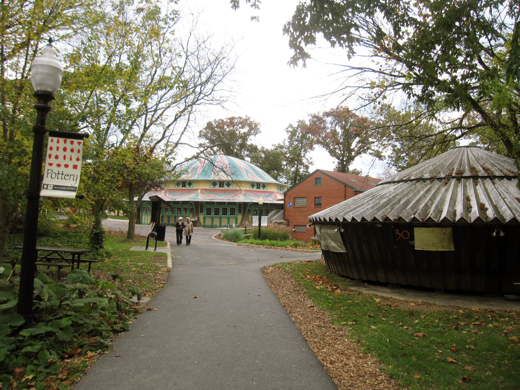 This Oct. 23, 2014 photo shows Glen Echo Park in Glen Echo, Md., a historic site that started in the late 19th century as a Chautauqua community, part of a movement to create planned towns with a focus on culture and education. The community failed and the land was turned into an amusement park. The park closed in 1968 but the amusement pavilions have been preserved, operated by the National Park service with the Glen Echo Park Partnership for the Arts and Culture/Montgomery County. Buildings today house everything from a carousel to art classes. (AP Photo/Beth J. Harpaz)