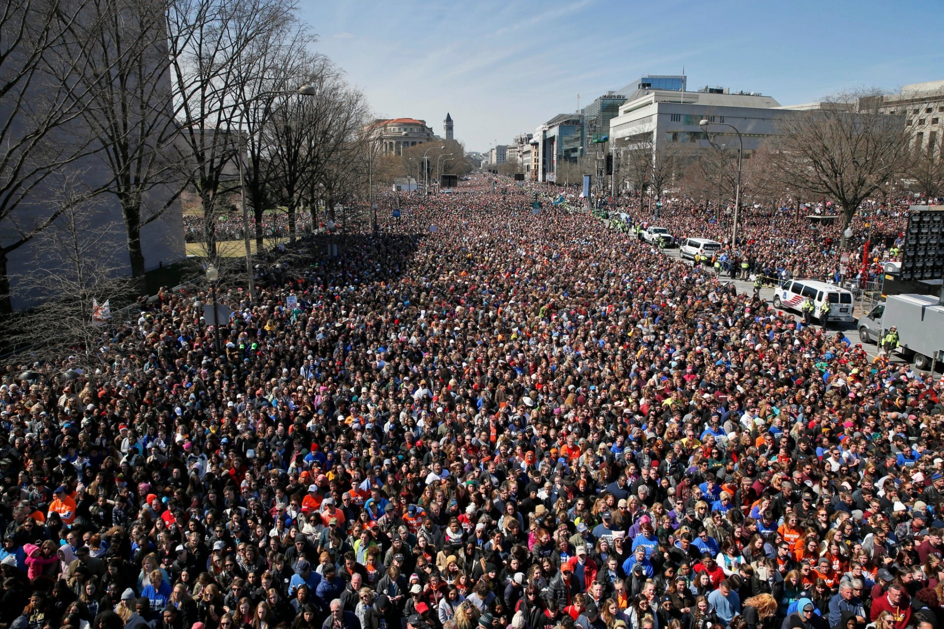 "FILE - In this Saturday, March 24, 2018 file photo, a crowd fills Pennsylvania Avenue during the ""March for Our Lives"" rally in support of gun control in Washington. More than five decades after Americans poured into the streets to demand civil rights and the end to a deeply unpopular war, thousands are embracing a culture of resistance unlike anything since. (AP Photo/Alex Brandon)"
