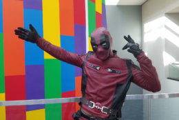 A man dressed as Deadpool at the D.C. Awesome. (WTOP/Will Vitka)