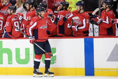 Celebrating Backstrom's 4th postseason OT game-winning goal