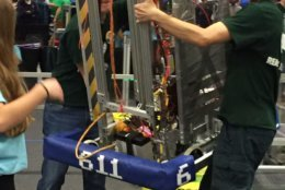 Langley High School robotic team captains Nate Ludlow and Peter Swaak at a competition in Manassas. (Courtesy of Amy and Derrick Swaak)