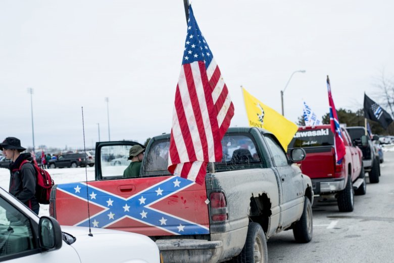Student Demonstrators Park Trucks Bearing Confederate Flags And Other Banners Signs Along The Outer Drive Of Bay City Western High School