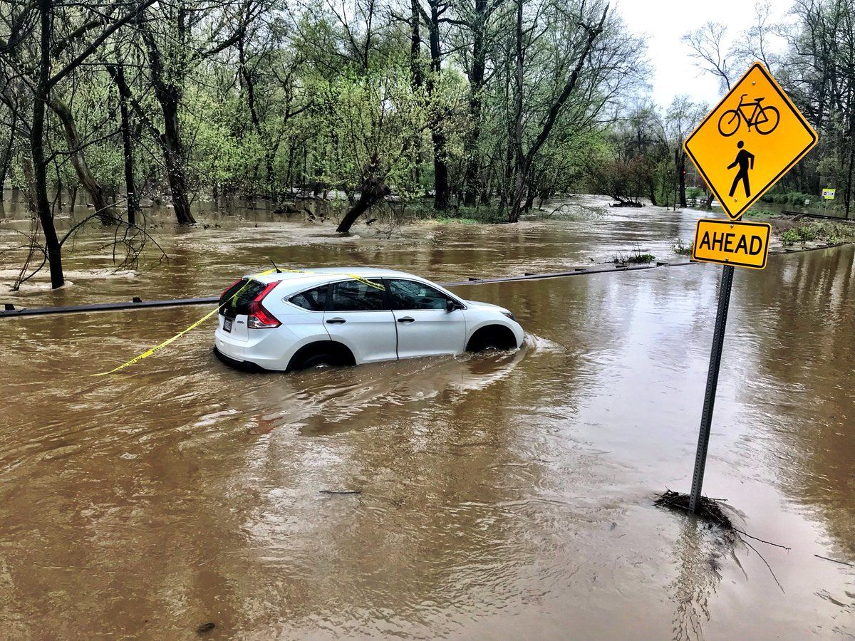 Emergency management officials reported flooding in several locations in Northwest D.C. and eastern Montgomery County. More moderate to heavy rain is moving into this same area which could prolong the flood concerns, according to the National Weather Service. (WTOP/Neal Augenstein)