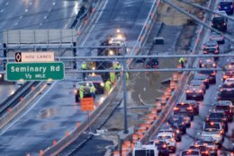 Crews still pumping water out of the Virginia Express Lanes work zone. (WTOP/Dave Dildine)