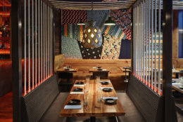 For Daikaya (705 Sixth St. NW), Streetsense traveled to Japan to ensure authenticity in its work. Designer Brian Miller used dark woods in the upstairs area, complementing the Japanese comfort food. (Courtesy Streetsense/Nikolas Koenig)