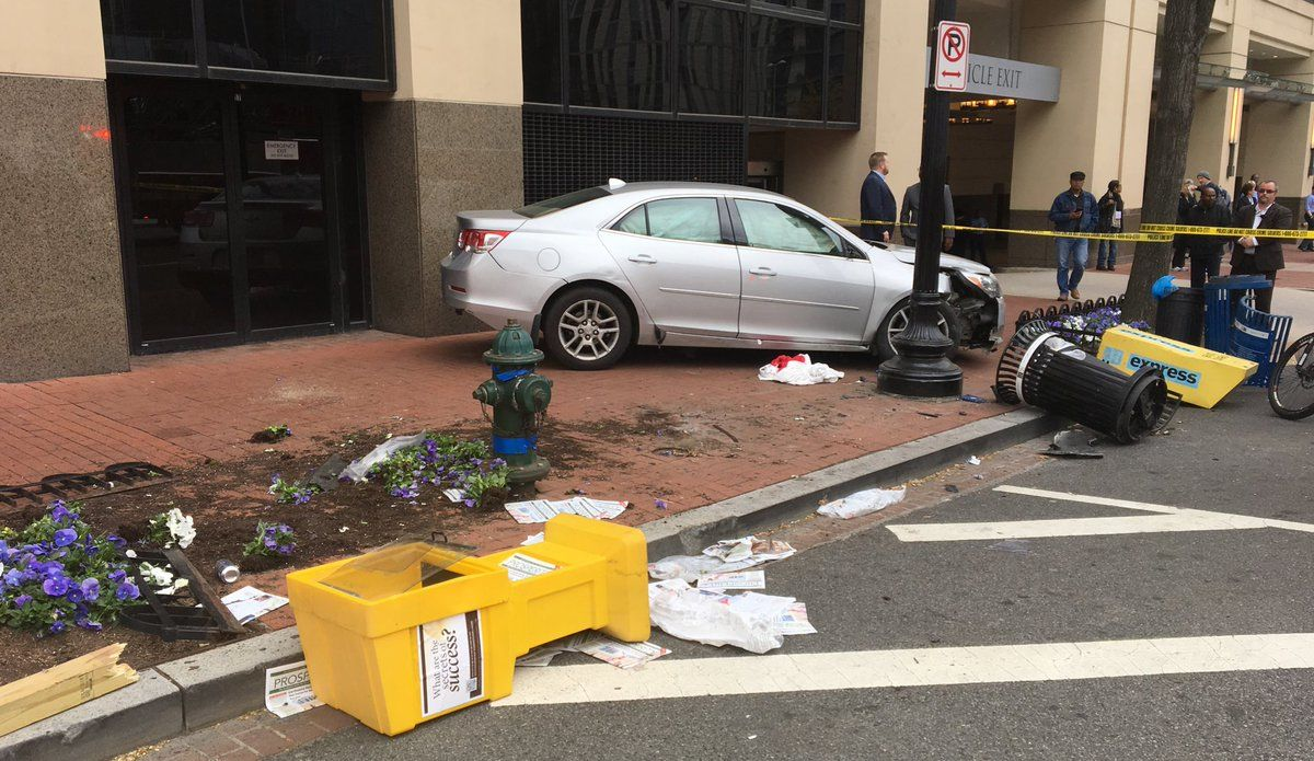 Two cars crashed near the intersection of 9th Street and New York Avenue in Northwest. One of the vehicles ran up onto the sidewalk, colliding with nearby pedestrians. (Courtesy DC Fire and EMS)