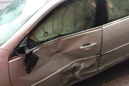 One of the vehicles involved in the crash in downtown D.C. where four pedestrians were injured. (WTOP/Kristi King)