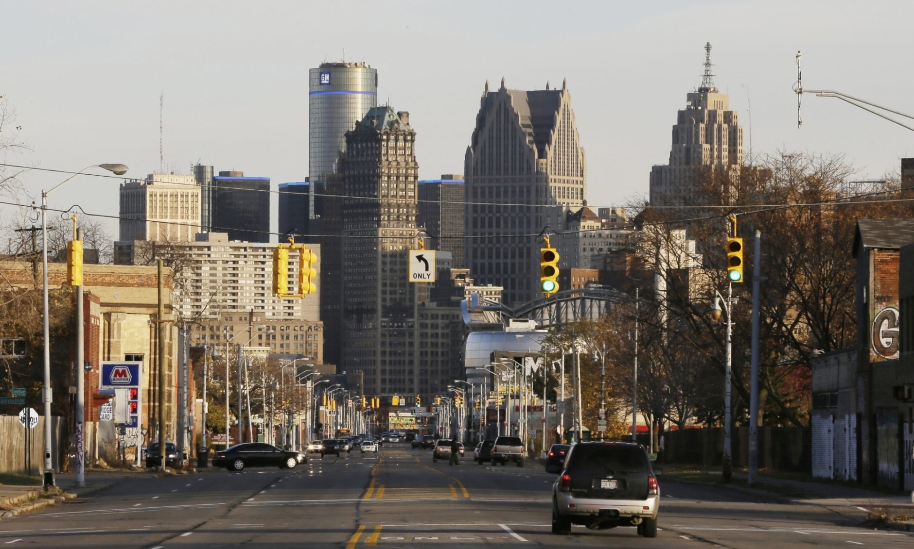 FILE - This Nov. 7, 2014 file photo shows the skyline of the city of Detroit. Detroit reached a key step in fiscal redemption on Monday, April 30, 2018, by reclaiming control of its own finances roughly three years after exiting the largest municipal bankruptcy in U.S. history. (AP Photo/Carlos Osorio, File)