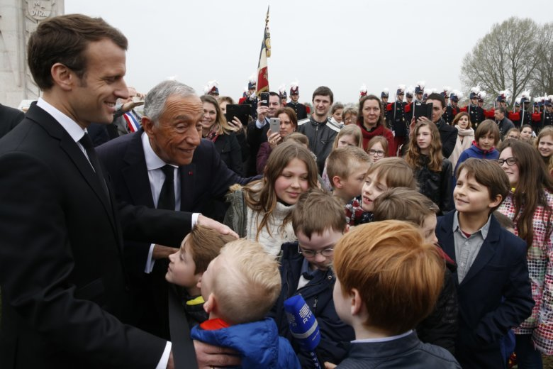 France portugal mark centennial of wwi battle wtop french president emmanuel macron right and portuguese president marcelo rebelo de sousa greet children during a world war one remembrance ceremony of the m4hsunfo