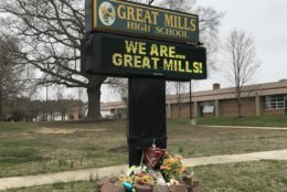 The sign outside Great Mills High School on April 3, 2018, the day classes resumed two weeks after a fatal shooting. (WTOP/Michelle Basch)
