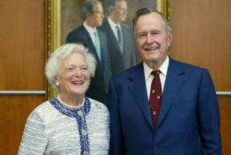 COLLEGE STATION, TX - APRIL 21:  Former U.S. President  George H.W. Bush and former first lady Barbara Bush attend a portrait unveiling at the George Bush Library April 21, 2003 in College Station, Texas. A painting of the father/son presidents went on display.  (Photo by Joe Mitchell/Getty Images)