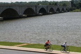 WASHINGTON, DC - MAY 20:  People ride bicycles along the Potomac River near the Memorial Bridge May 20, 2015 in Washington, DC. A recent study released by the American College of Sports Medicine ranked Washington as the fittest city in the United States.  (Photo by Mark Wilson/Getty Images)