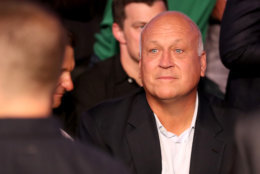Former MLB pitcher Cal Ripken Jr. attends the super welterweight boxing match between Floyd Mayweather Jr. and Conor McGregor on August 26, 2017 at T-Mobile Arena in Las Vegas, Nevada.  (Photo by Christian Petersen/Getty Images)
