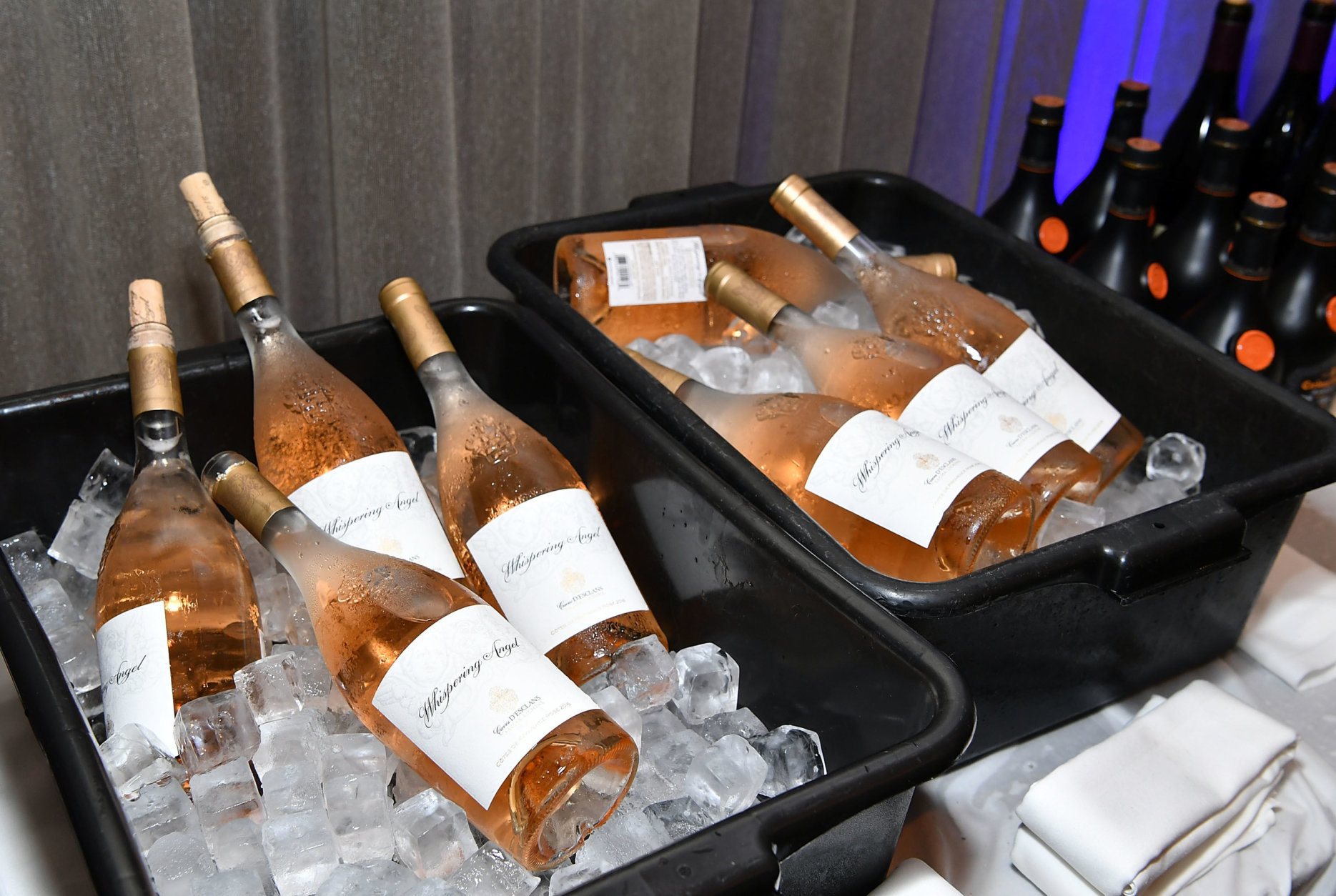 NEW YORK, NY - OCTOBER 14: A view of iced wine bottles at an intimate dinner hosted by Barclaycard Arrival+ at The Knickerbocker Hotel  on October 14, 2017 in New York City.  (Photo by Slaven Vlasic/Getty Images for Barclaycard)