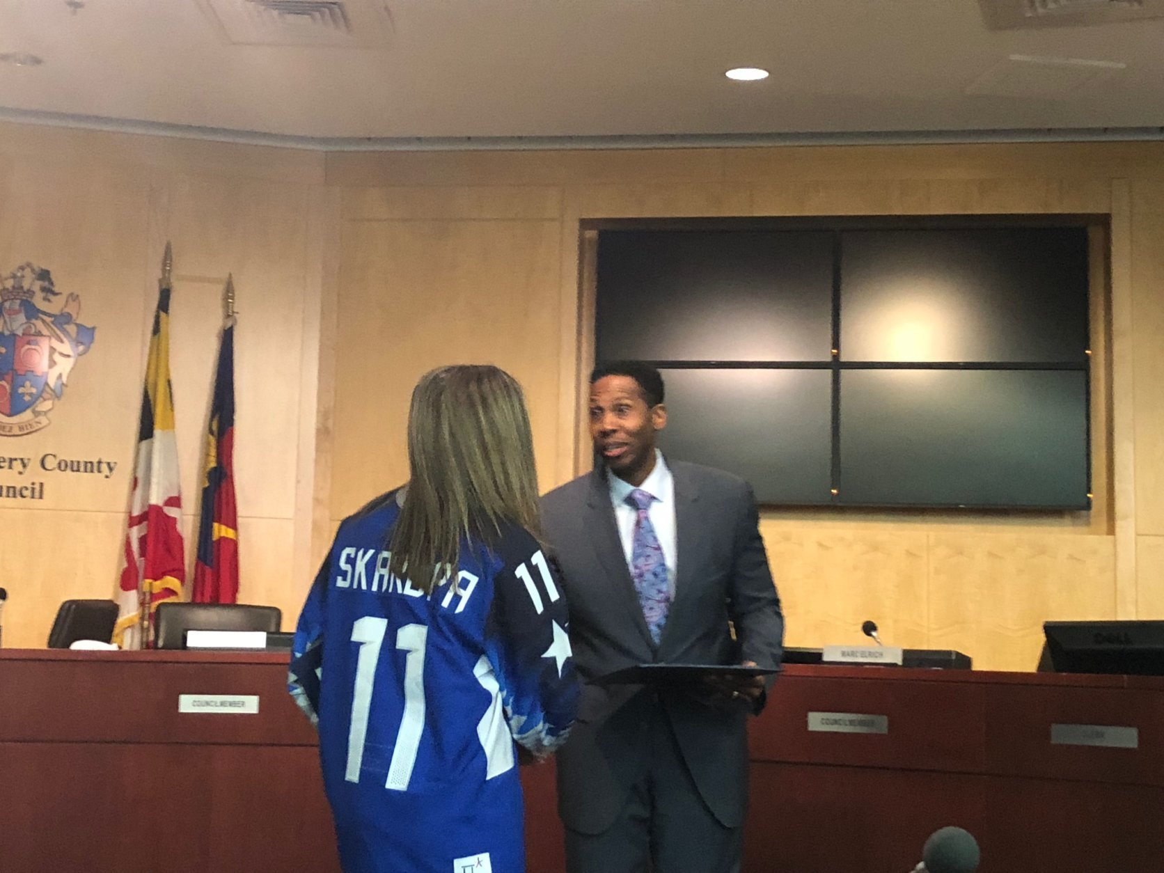 """""""Thank you, everyone, for having me here today,"""" Skarupa said at the meeting. """"It's such an honor to represent Montgomery County and Maryland. I love coming back here. This is home for me."""" (WTOP/Melissa Howell)"""