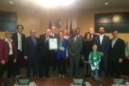 Haley Skarupa, a member of the gold medal-winning U.S. women's Olympic hockey team, was congratulated by the Montgomery County city council on Tuesday in Rockeville, Maryland. (WTOP/Melissa Howell)
